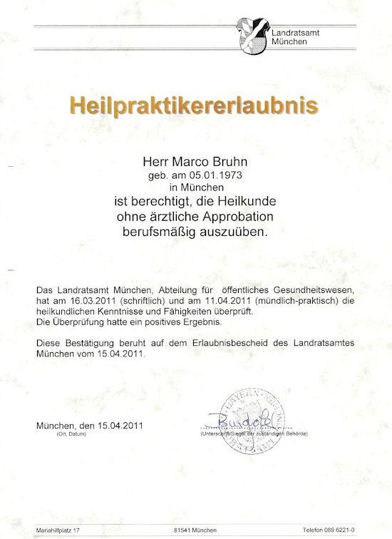 Marco Bruhn Heilpraktikererlaubnis